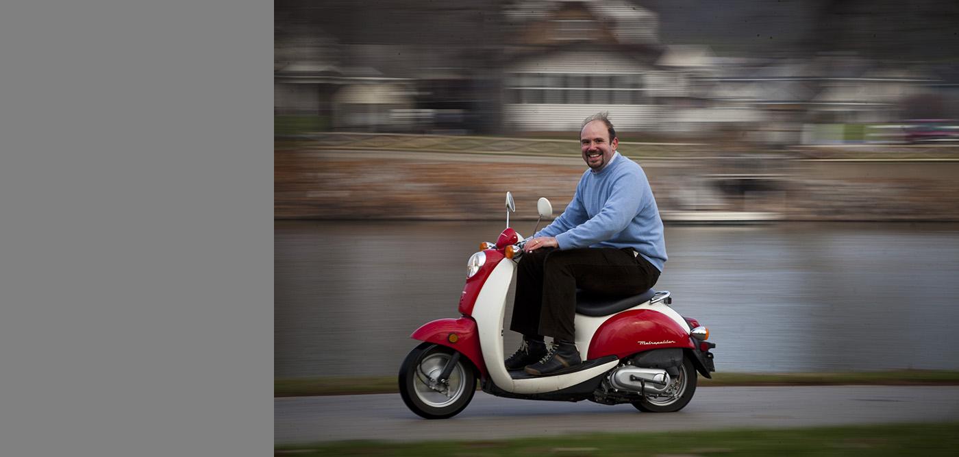 Gabirele Villarini on a scooter.