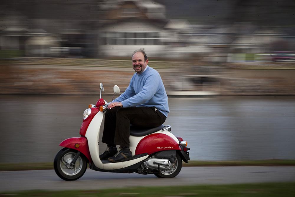 Gabriele Villarini on scooter