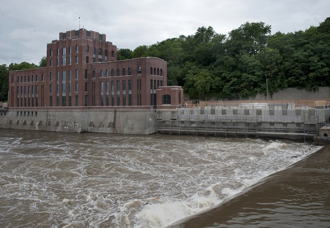 The water's power is evident and impressive at the Burlington Street dam near Stanley Hydraulics Lab.