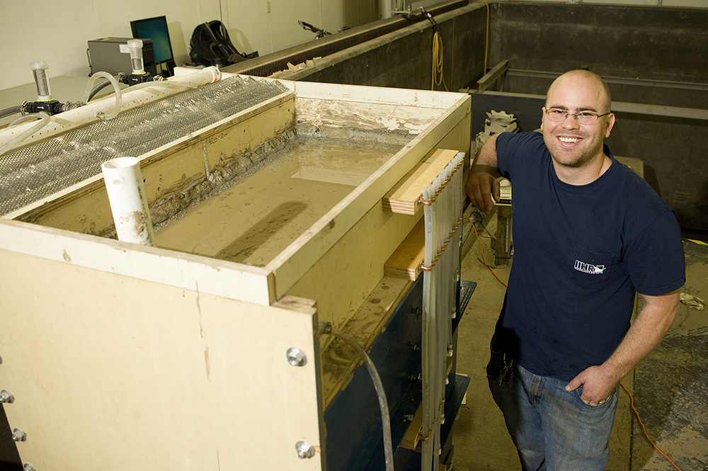 Brad Reuter — both an IIHR Shops employee and an engineering student — designed and built this flume to simulate flow through different media (e.g., soil, wood chips, etc.) into drainage tile.