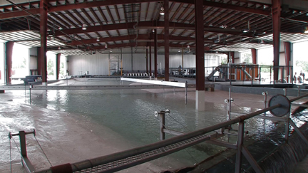 The James Street Laboratory provides a large open space for models. The building's capabilities include large overhead doors and high ceilings for greater flexibility and easy access, and 300 Hp of pumping capability for ground recirculating models.