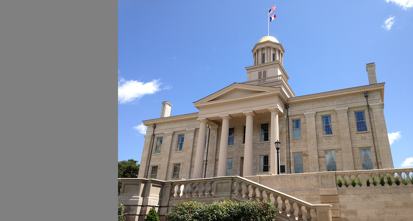 Old Capitol is at the heart of the University of Iowa campus.