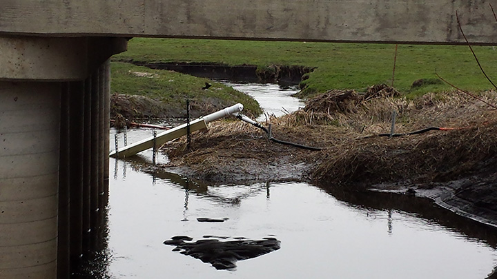 Water-quality sensor deployed in an Iowa stream.