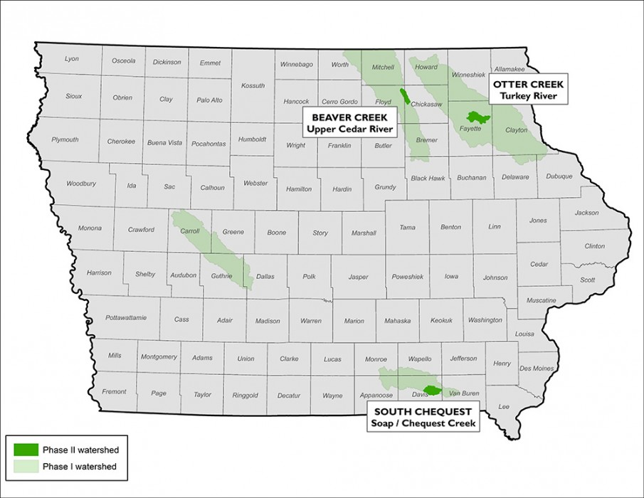 This map of Iowa shows the watersheds chosen for the Iowa Watersheds Project. They are: Beaver Creek on the Upper Cedar River, Otter Creek on the Turkey River, and South Chequest on Soap/Chequest Creek.