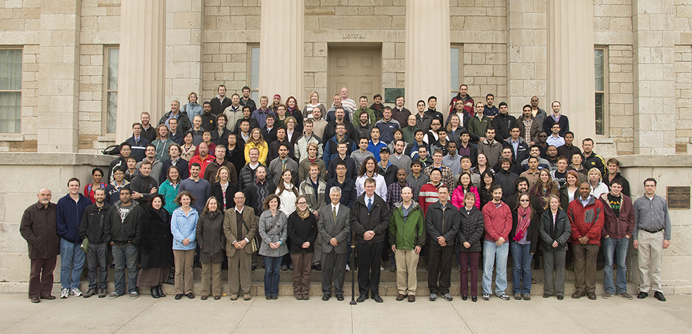 IIHR faculty, staff, and students on the steps of the Old Capitol.