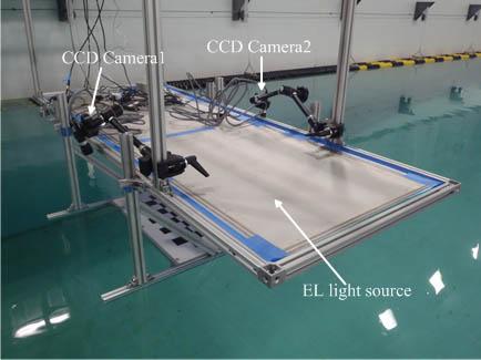 Experimental setup for reflected light distribution method at the IIHR Wave Basin.