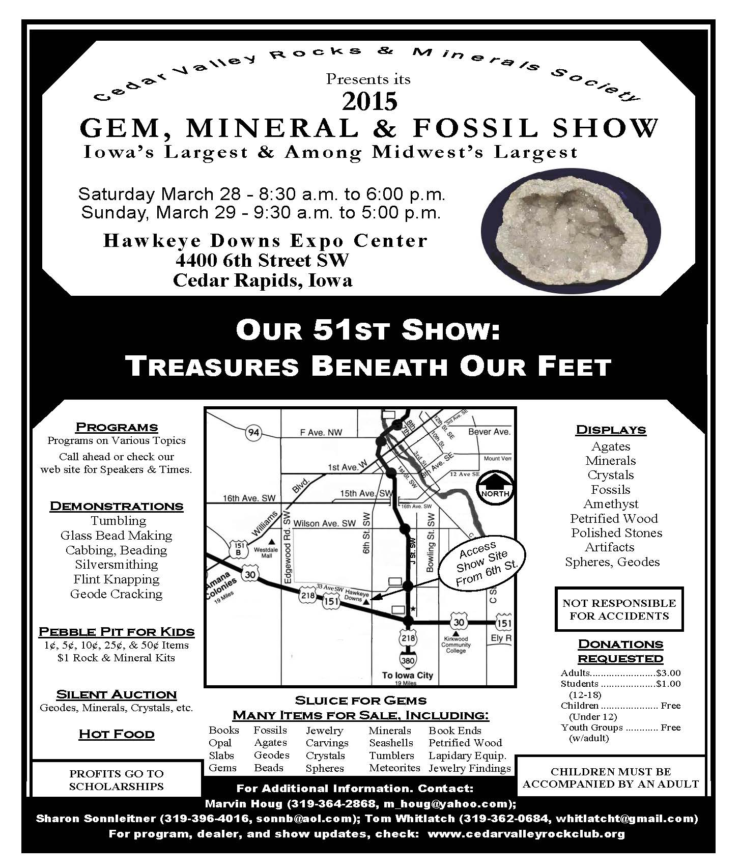 Flyer for the Gem, Mineral & Fossil Show.