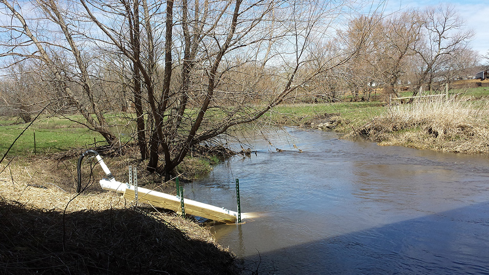 A water quality sensor in a river.