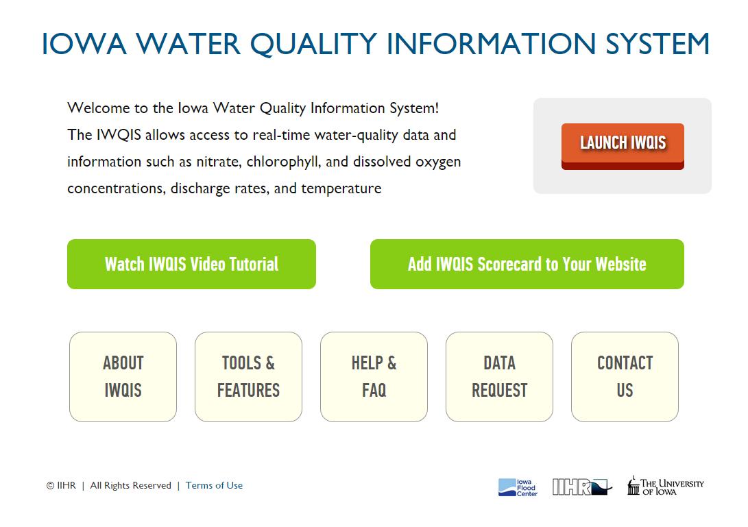 A screenshot of the IWQIS.
