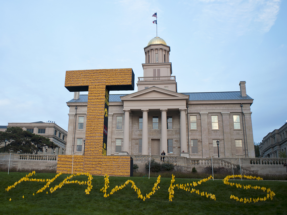The UI student chapter of the American Society of Civil Engineers (ASCE) designed, constructed, and erected the 2015 Corn Monument.