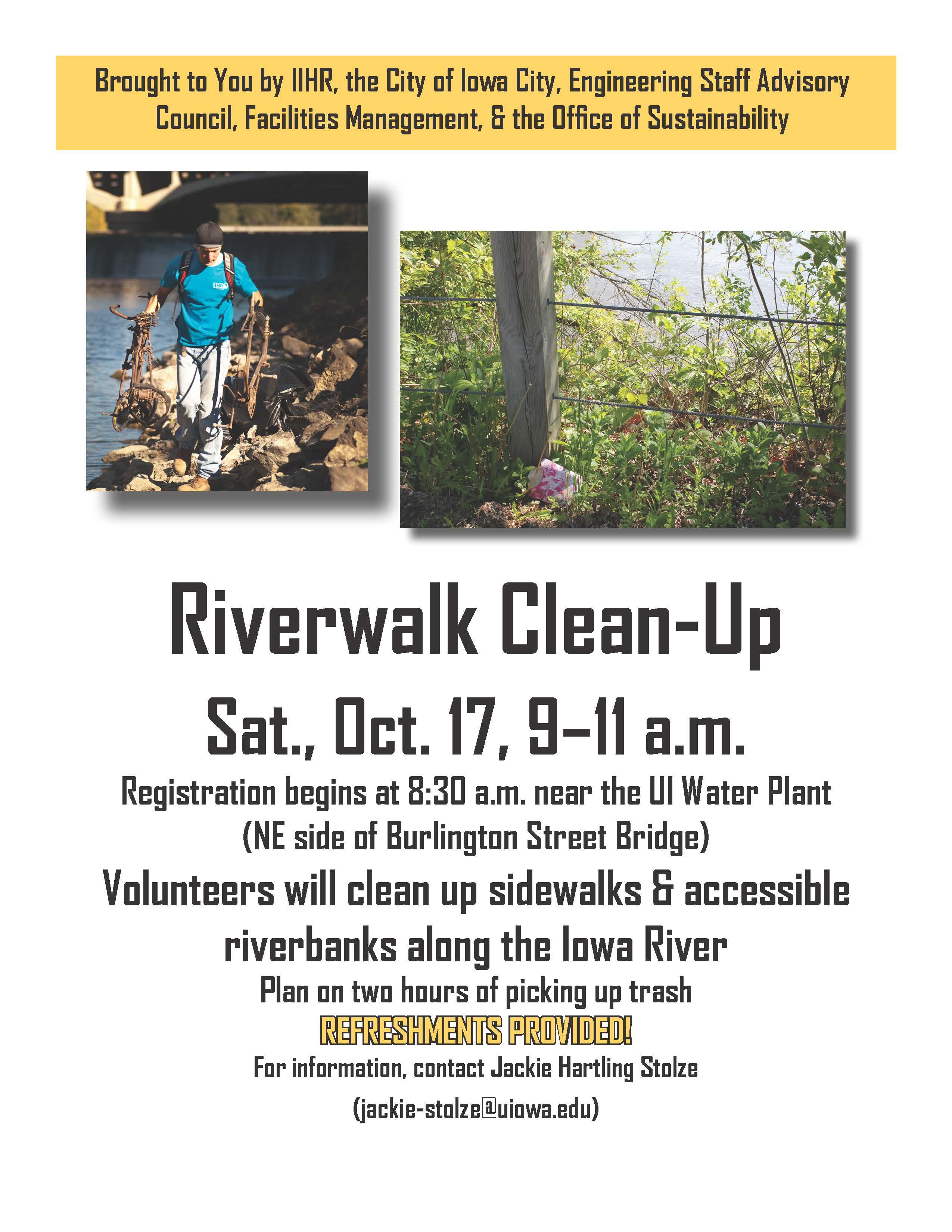 Riverwalk Clean-Up poster.