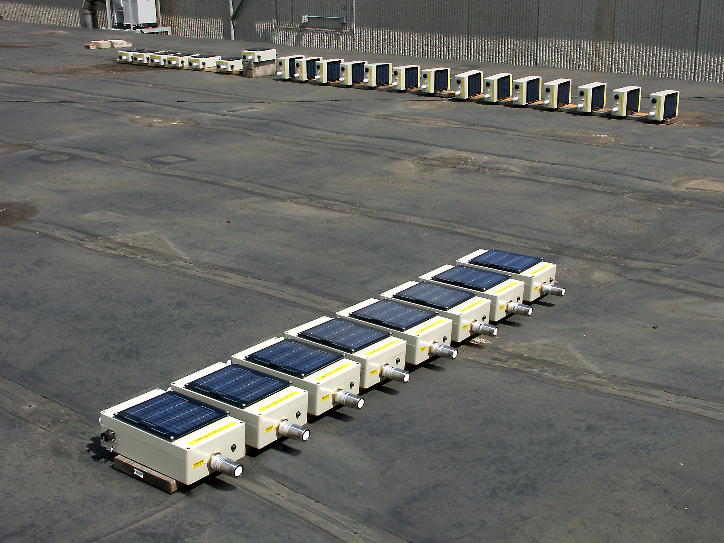Stream stage sensors laid out in a row.