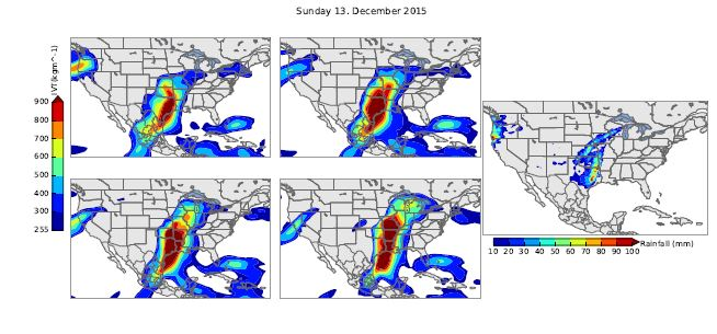 The atmospheric river that resulted in record-setting flooding last December in Iowa and across the Midwest. (Left: Six-hour intervals of an integrated water vapor transport moving across the central United States (the redder the color, the larger the amount of moisture transported). Right: Rainfall amounts for December 13, 2015.)