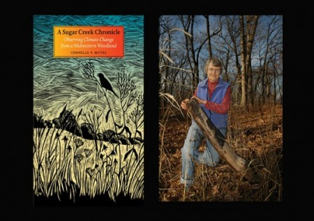 Connie Mutel with an image from the cover of her book, A Sugar Creek Chronicle.