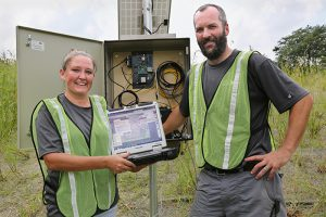 IIHR's Carrie Davis and Tom Stoeffler installed the new sensor on West Fork Crooked Creek; it almost immediately popped up on the Iowa Water-Quality Information System (IWQIS).