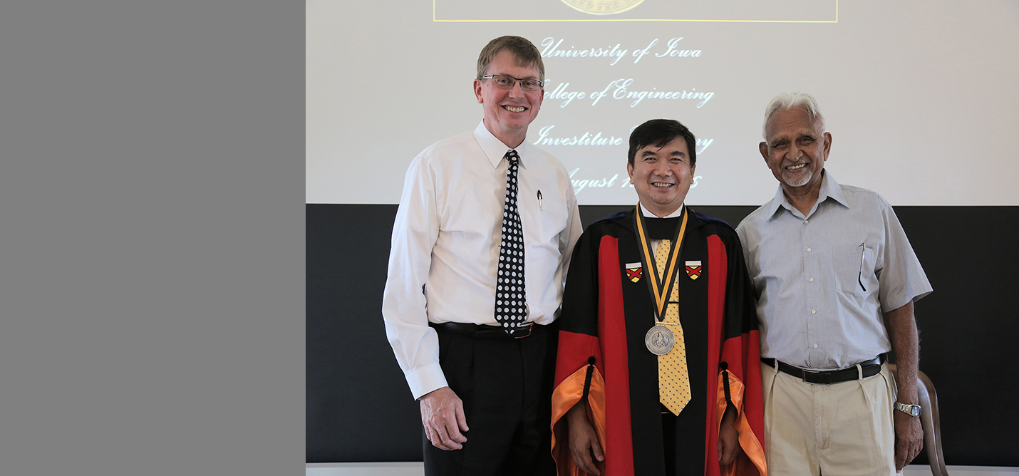 Ching-Long Lin, center, was named the new Edward M. Mielnik and Samuel R. Harding Professor of Mechanical and Industrial Engineering. He is pictured with IIHR Director Larry Weber (left) and former IIHR Director V.C. Pate.