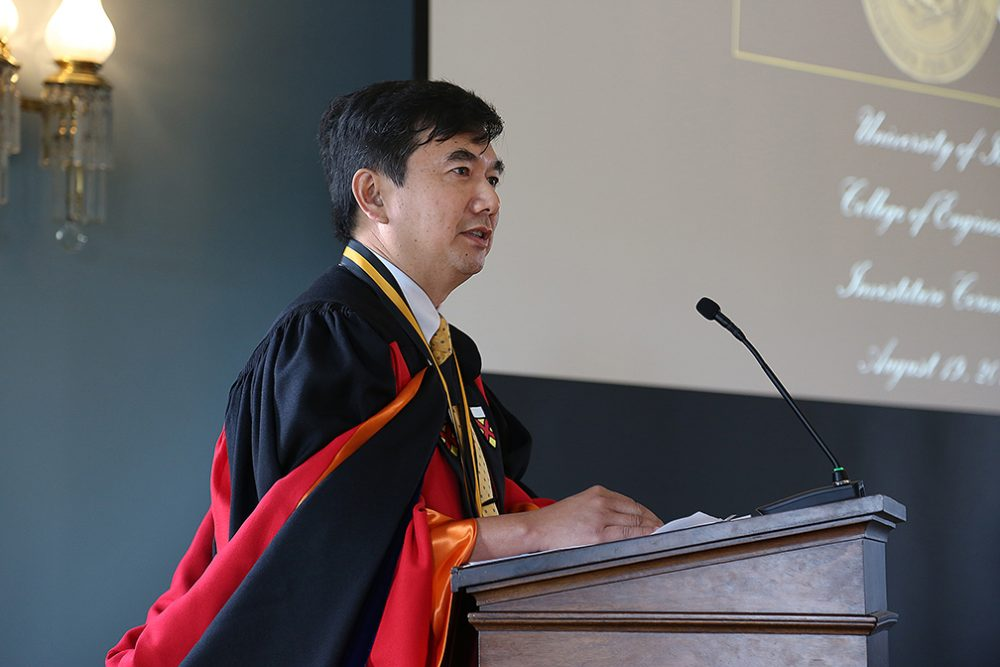 Ching-Long Lin, the new Edward M. Mielnik and Samuel R. Harding Professor in Mechanical and Industrial Engineering, spoke of his love for his work and his appreciation for this honor.