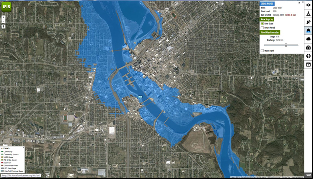 Flood inundation maps for Cedar Rapids show which areas will be impacted if the river crests at the predicted 24 feet stage.