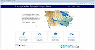 A screenshot from the Iowa Watershed Decision Support Decision.