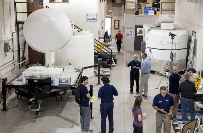 Visitors to the Wind Tunnel Annex saw one of the IFC's four polarimetric radars, stream-stage sensors, soil moisture and rain gauge platforms, and the Iowa Flood Information System.
