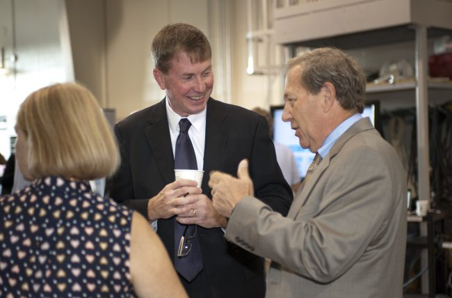 IIHR Director Larry Weber in conversation with new UI President Bruce Harreld and Mary Harreld.