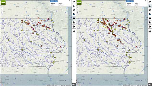 The Iowa Flood Information System (IFIS) offers map views of current flood alerts in Iowa, which are indicated by yellow or red triangles in the map on the left, as well as forecasted flooding on the right, also indicated by red or yellow triangles.