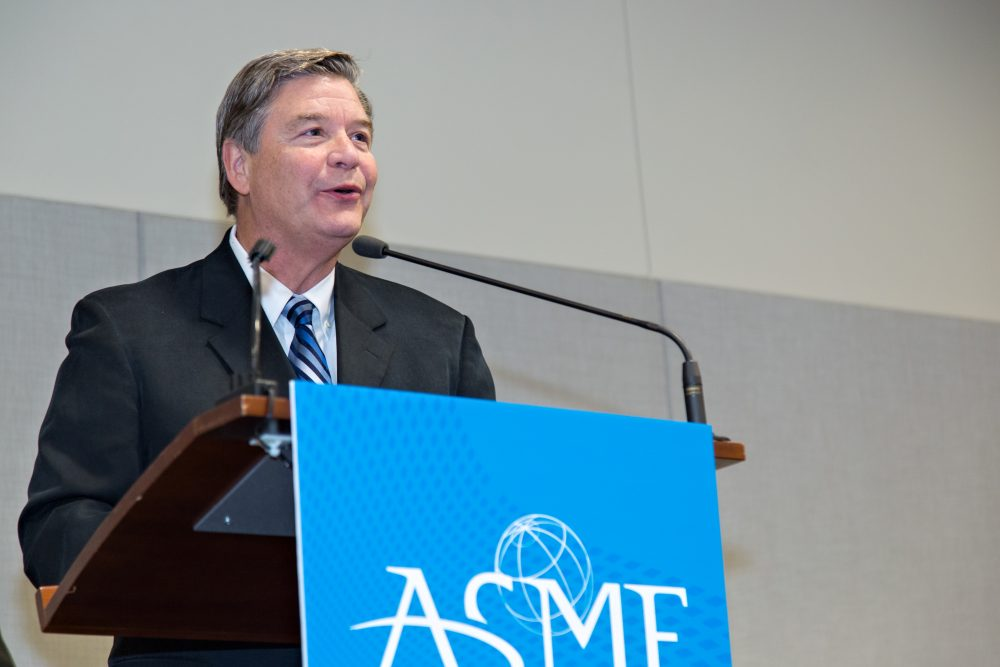 Jerry Schnoor speaking at the ASME national meeting where he accepted the Dixy Lee Ray Award for groundbreaking research on phytoremediation.