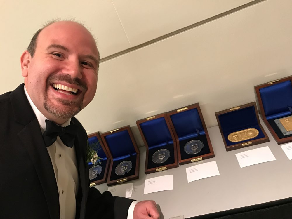 Gabriele Villarini was thrilled to receive the AGU's Macelwane Medal in 2016.