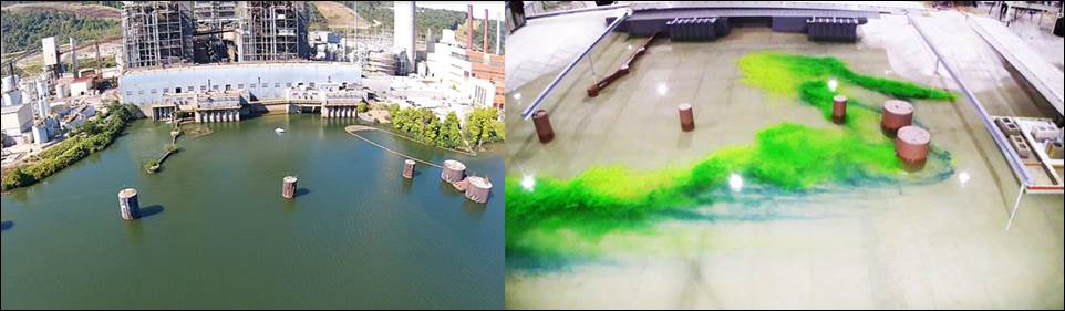 Side by side pictures of an Ohio power plant and the model made by IIHR.