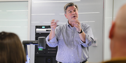 """IIHR Research Engineer Jerry Schnoor spoke about climate change at a recent event on the UI campus titled """"A Moment of (Post) Truth: A Media Workshop and Forum."""""""