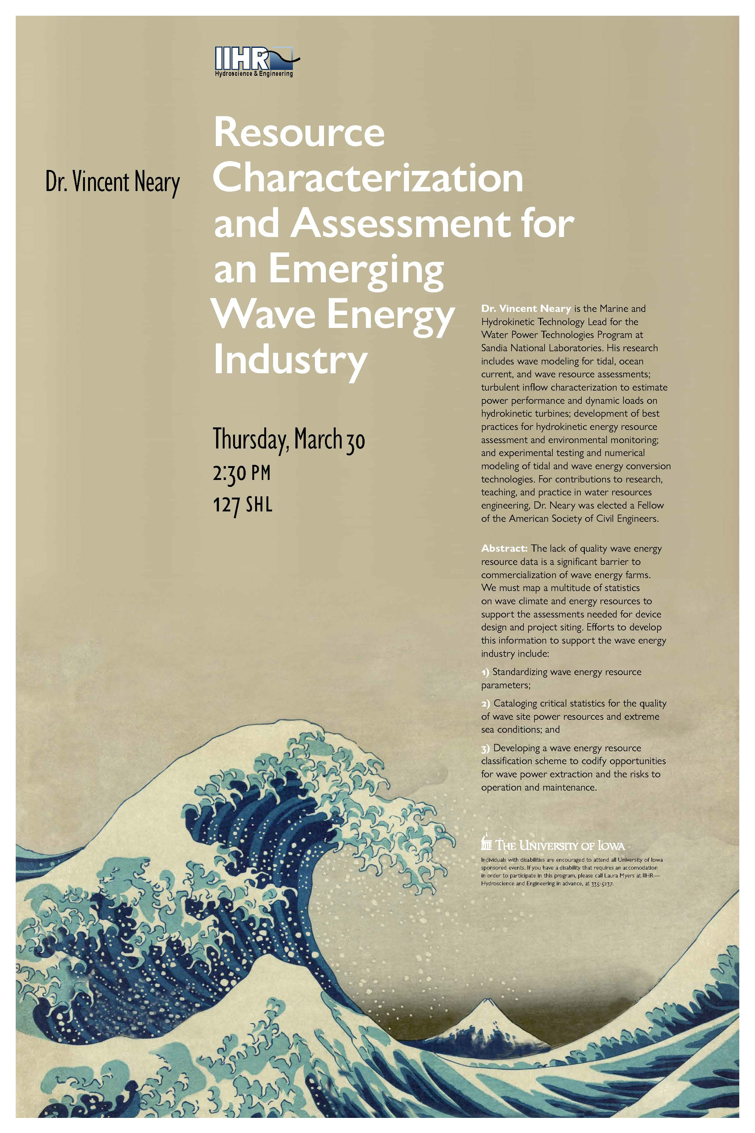 Poster for Dr. Vincent Neary's seminar.