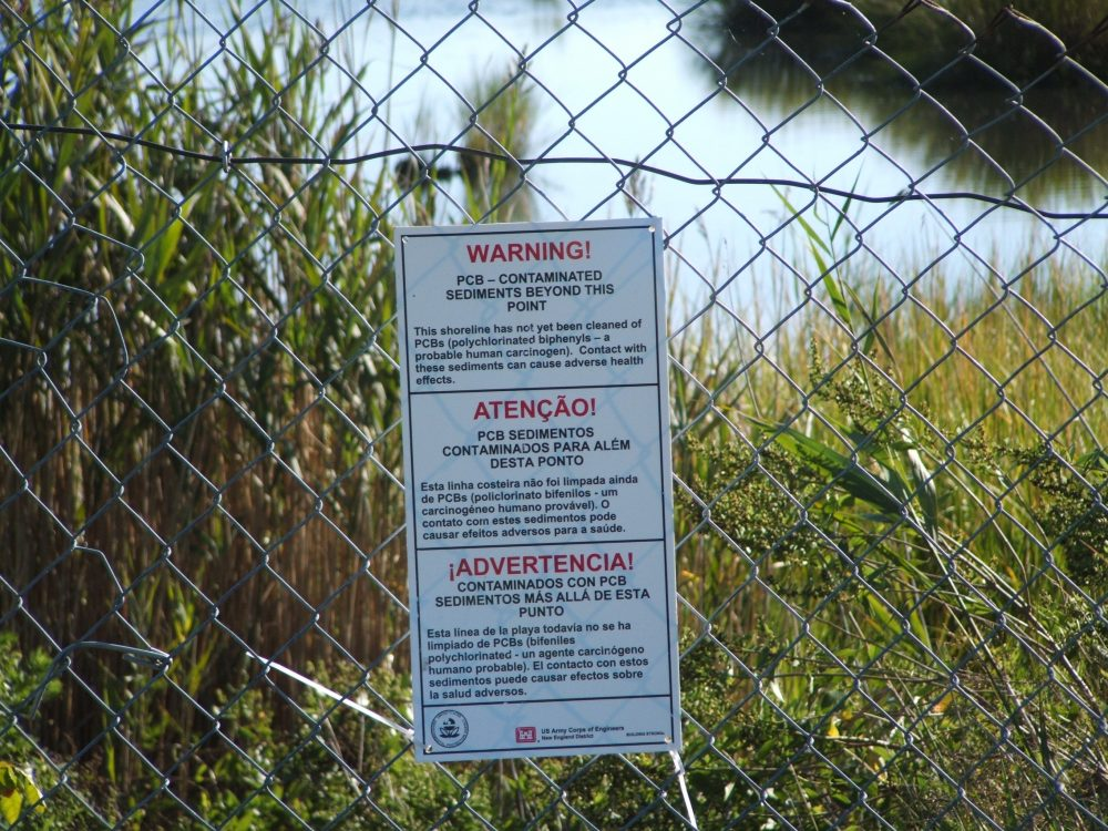 Warning sign near New Bedford Harbor superfund clean-up site. Photo courtesy of U.S. EPA.
