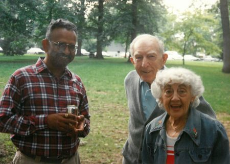 Lou and Mae Landweber at an IIHR picnic with Director V.C. Patel (left).