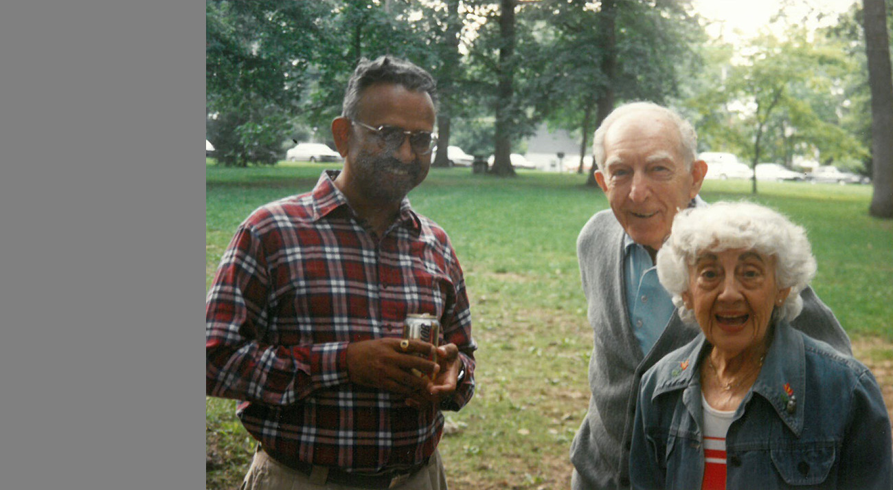 Lou and Mae Landweber at a lab picnic with IIHR Director V.C. Patel.