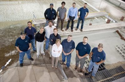 The IIHR Engineering Services team poses in a group photo.