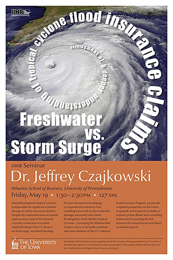 Poster for Jefferey Czajkowski's seminar.