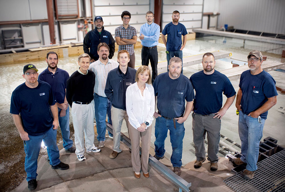 The IIHR team responsible for the power plant model poses for a group photo.