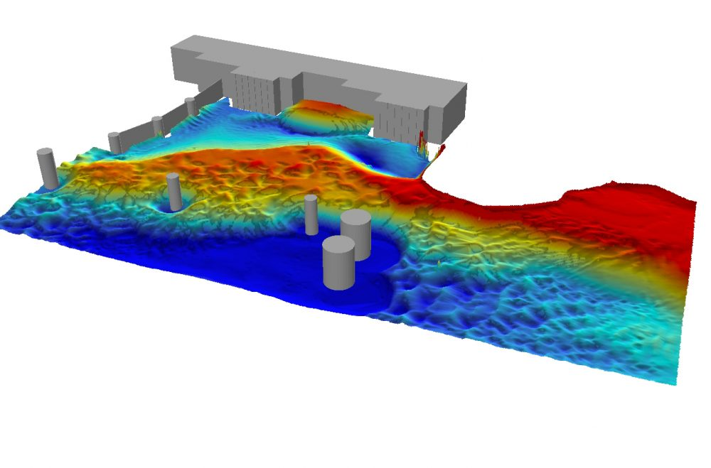 Computational modeling of the forebay of the Cardinal Power Plant.