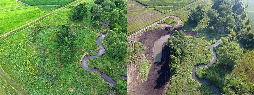 This is an aerial view taken by a drone over the restoration area at Morgan Creek in Linn County.