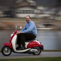 Gabriele Villarini on a scooter.