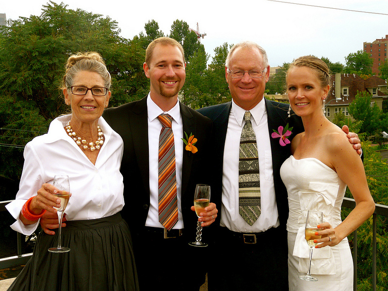 Forrest Holly, his wife Joyce, son Lance, and daughter-in-law Laureen pose on the young couple's wedding day.