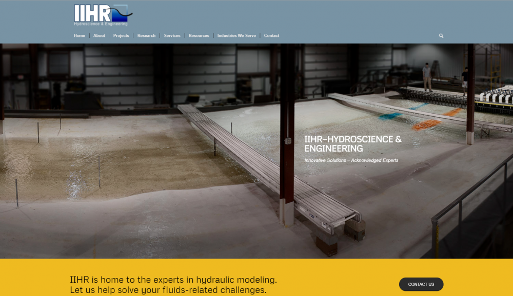 A screen shot of the front page of IIHR's new shop website showing a large, warehouse-sized river model.