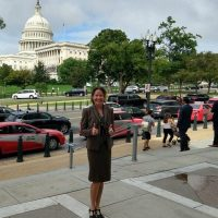 IIHR grad student Nancy Barth in front of the U.S. Capitol.