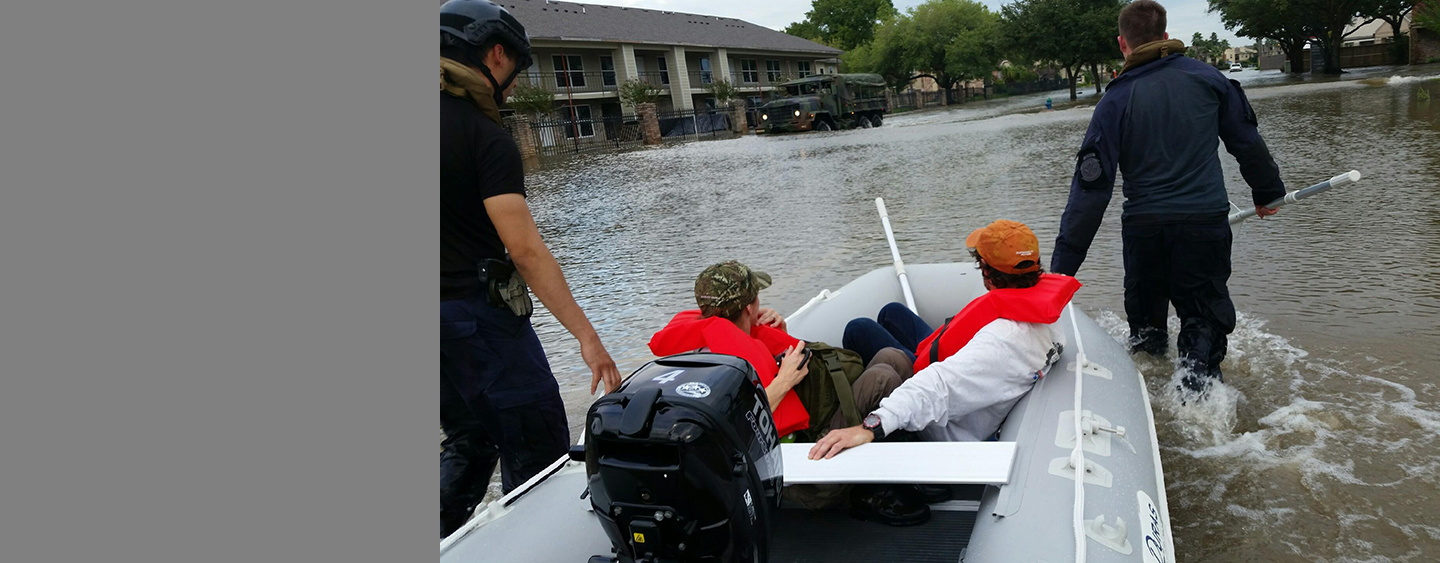 Rescuing flooding victims after Hurricane Harvey.