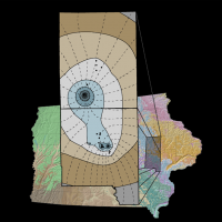 This colorful map shows a collaborative groundwater modeling effort among the IGS, Iowa DNR, and individual water users in Linn and Johnson counties.
