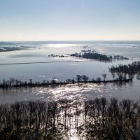Floodwaters stretch to the horizon along the Missouri River, seen here from the NEbraska side.