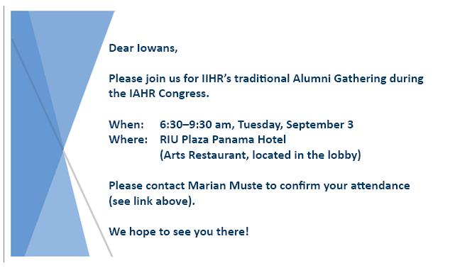 Invitation to IIHR's Alumni Gathering at the IAHR Congress 2019