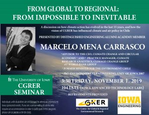 A flyer that says the date and time of a talk by Marcelo Mena Carrasco