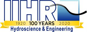 """Blue and white IIHR logo with gold centennial banner reading """"100 years"""""""