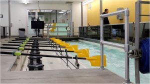 Water rushes through the rowing tank